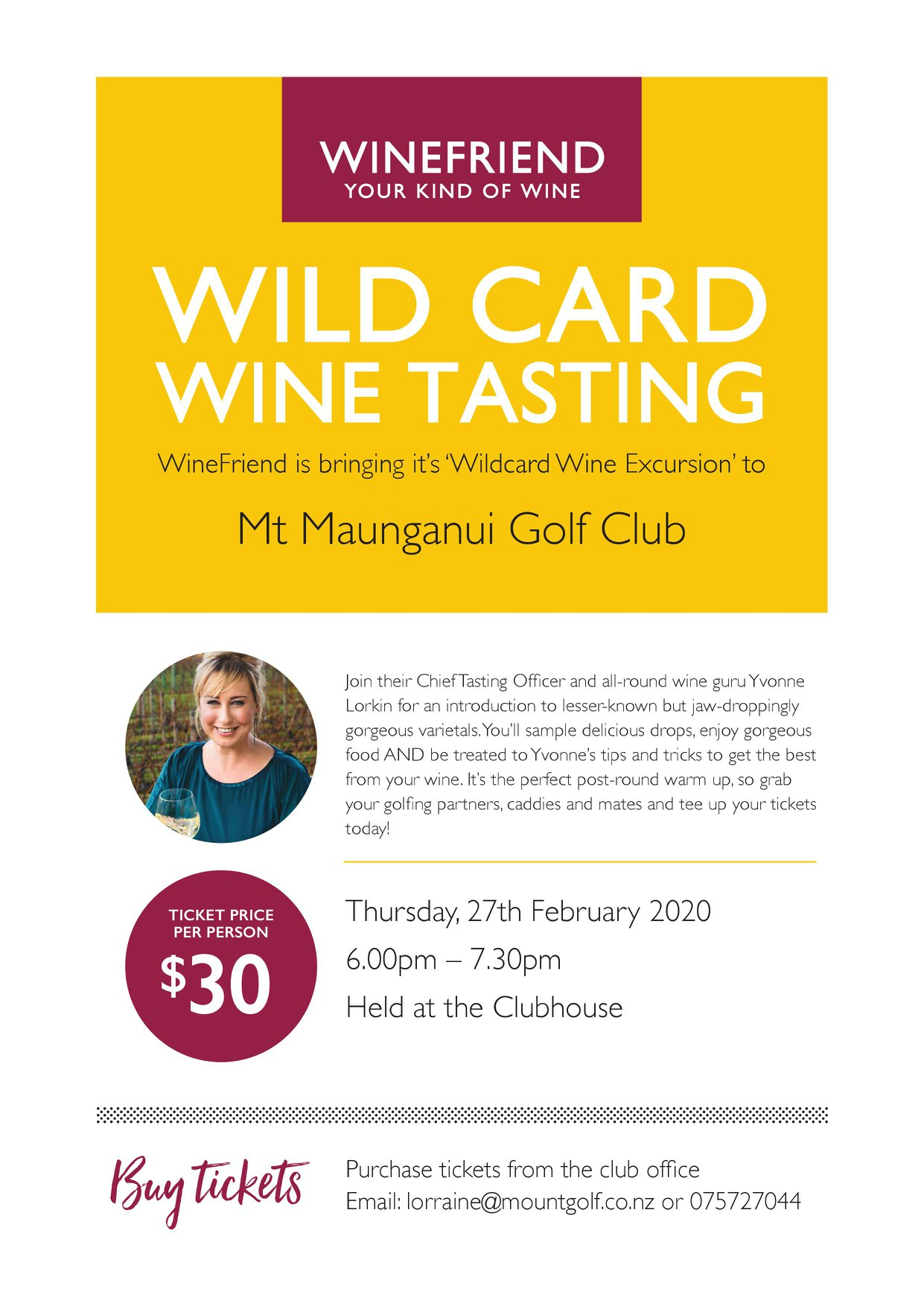 Wildcard Wine Tasting Mount Maunganui Golf!